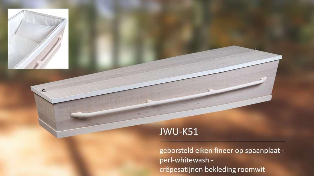 Kist geborsteld eiken fineer op spaanplaat whitewash