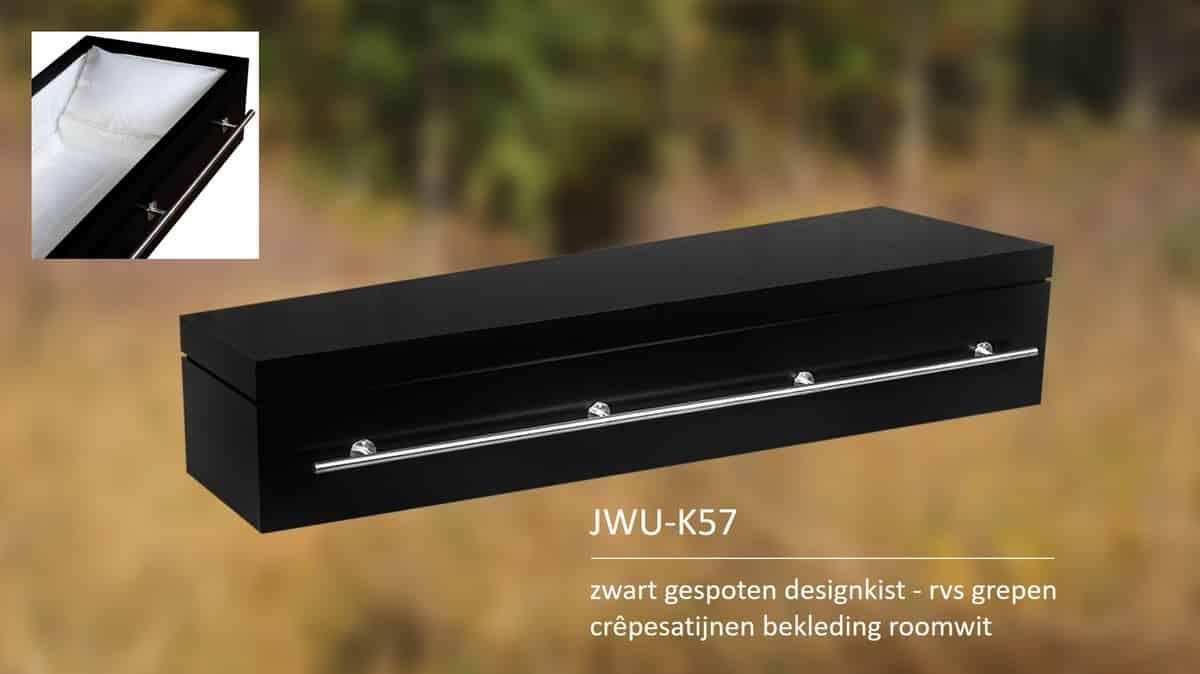Zwart gespoten designkist met rvs grepen