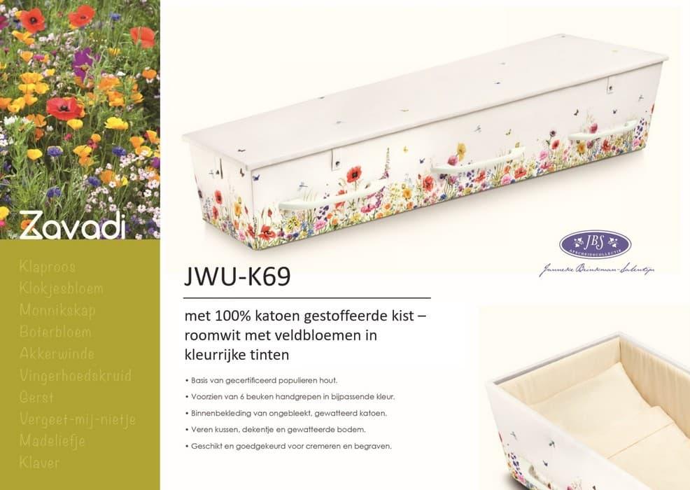 Katoen gestoffeerde kist roomwit met veldbloemen Janneke Brinkman